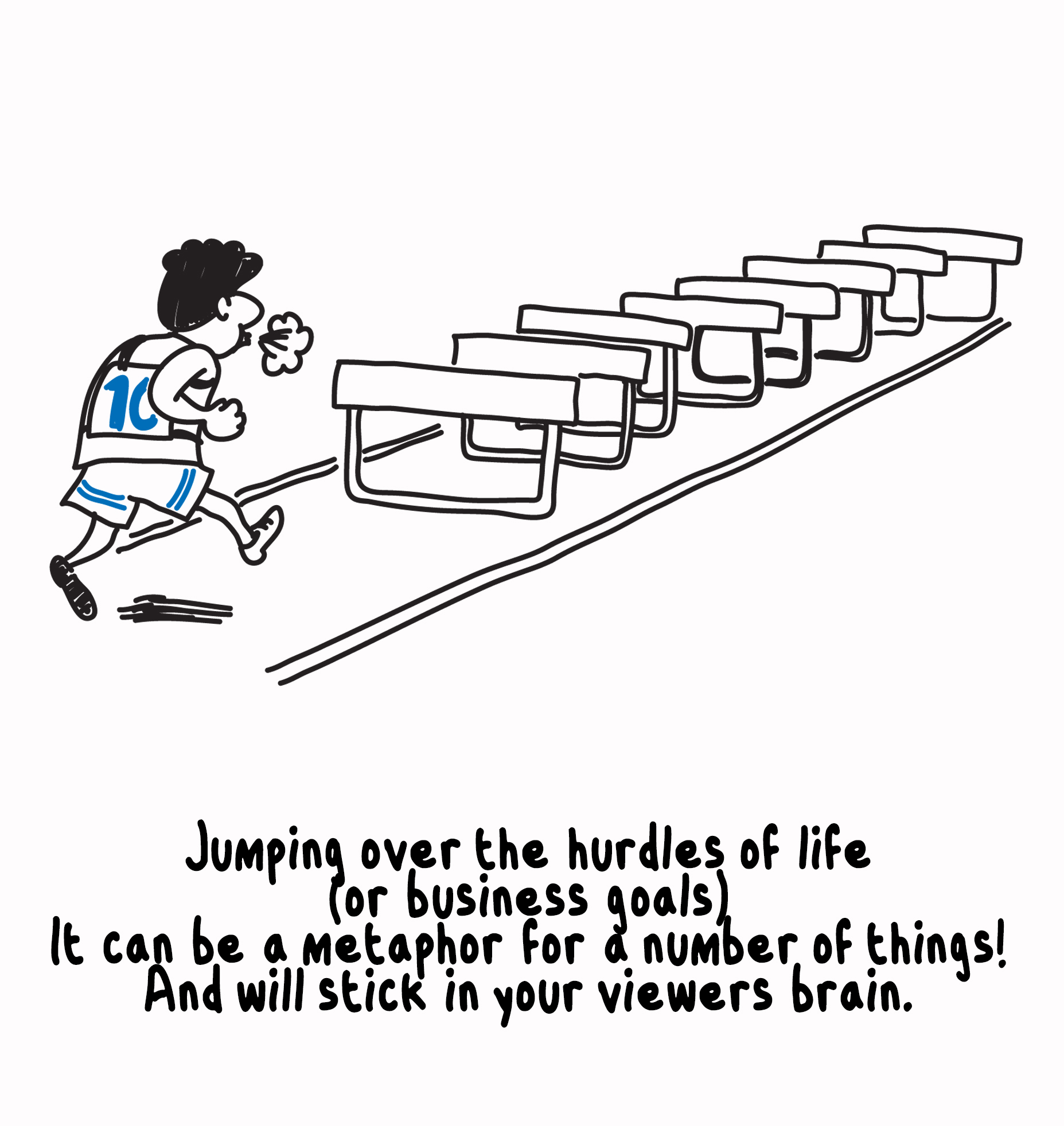 A visual metaphor for jumping over hurdles